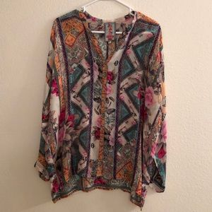 Johnny Was Silk Vintage Style Tunic Ladies Small
